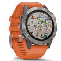 Фото Спортивные часы Garmin Fenix 6 Titanium with Ember Orange Band 010-02158-14