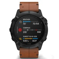 Фото Спортивные часы Garmin Fenix 6X Black DLC with Chestnut Leather Band 010-02157-14