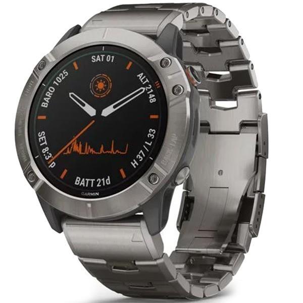 Спортивные часы Garmin Fenix 6X Pro Solar Titanium with Vented Titanium Bracelet 010-02157-24 | garmin-shop.com.ua